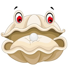 cute Oyster with a pearl cartoon for you design vector image vector image