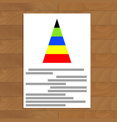 Document with color pyramid graphic vector