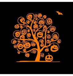 Halloween tree with pumpkins sketch for your vector image