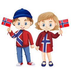 happy boy and girl holding flag of norway vector image vector image