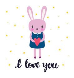 i love you cute little bunny romantic card vector image