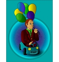 Man with balloons in the toy car full color vector image vector image