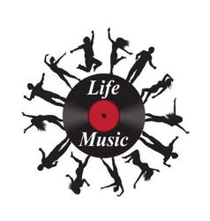 record music and silhouettes of dancing people vector image