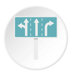 Traffic lanes at crossroads junction icon circle vector