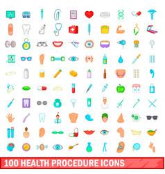 100 health procedure icons set cartoon style vector