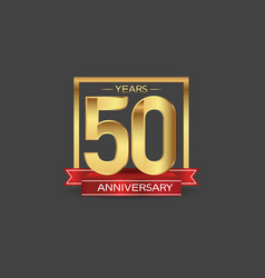 50 years anniversary logo style with golden vector