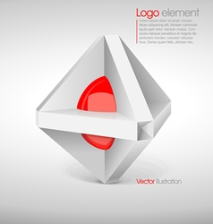Abstract big logo in 3d with a red circle vector