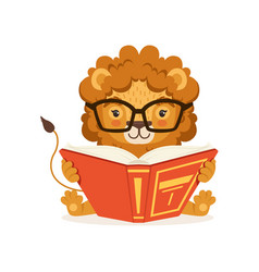 adorable little lion cartoon character wearing vector image
