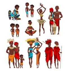 African People Clothing Flat Icons Collection vector
