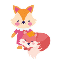 bashower cute little couple foxes cartoon vector image