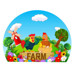 beautiful farm with the cock and hen vector image