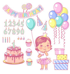 birthday party element set vector image