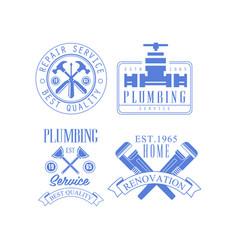 Blue emblems for repairing companies logos vector