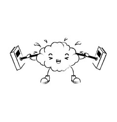 brain with weight lifting kawaii character vector image