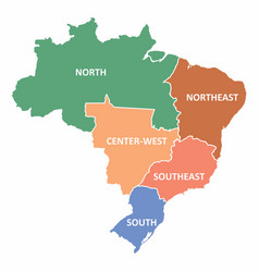 brazil regions map vector image
