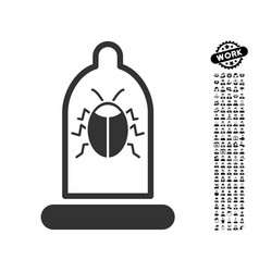 Bug protection condom icon with professional bonus vector