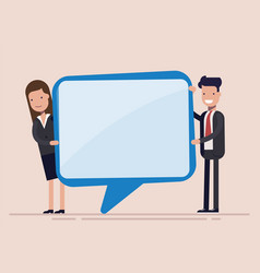 Businessman and woman hold speech bubble manager vector