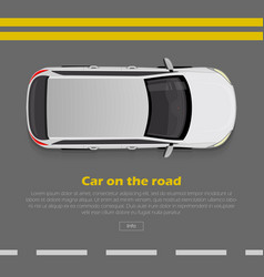 Car on road conceptual flat web banner vector