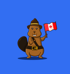Character beaver holding canadas flag mascot vector