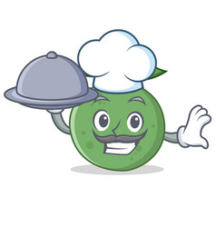 Chef with food guava mascot cartoon style vector