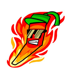 Chili pepper character with burning flame vector
