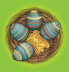 colorful happy easter eggs set in nest vector image