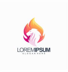 Colorful lion logo design vector