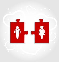 Couple of puzzle human icons for valentines day vector