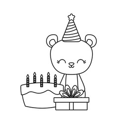 cute bear with cake birthday and gift box vector image