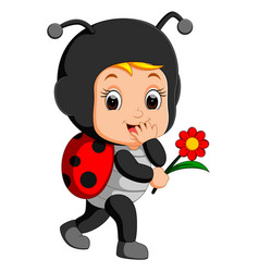 cute boy cartoon wearing ladybug costume vector image