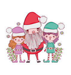 cute christmas santa claus with helpers vector image
