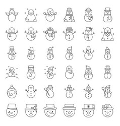 Cute snowman in various design with hat tea cup vector