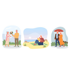 dating happy elderly loving couple valentines vector image