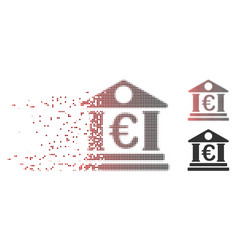 destructed pixel halftone euro bank building icon vector image
