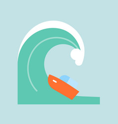 disaster from tsunami or big wave icon flat design vector image
