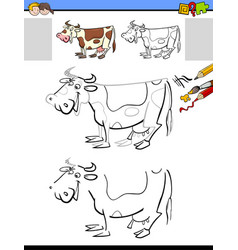 Drawing and coloring activity with milker cow vector