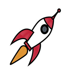 Drawing rocket technology science creativity vector
