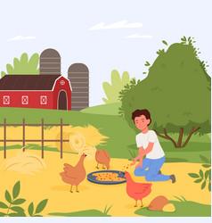 farm birds feeding village landscape happy boy vector image