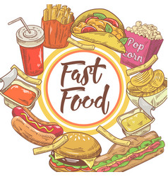fast food hand drawn design with sandwich fries vector image vector image