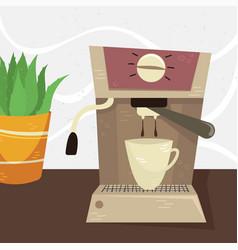 Flat coffee machine in interior vector