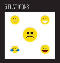 Flat icon emoji set of displeased cold sweat vector