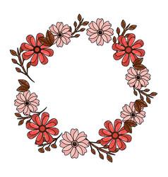 Flower crown emblem icon imag vector
