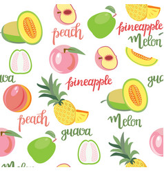 fruits peach guava melon pineapple seamless vector image vector image