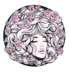 Girl eyes closed long curly hair pink color vector