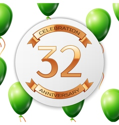 Golden number thirty two years anniversary vector image