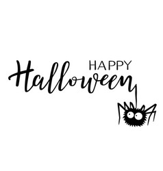 Halloween holiday calligraphy with a spider vector