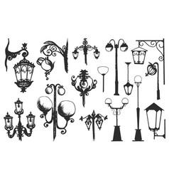 hand drawn doodle city street lantern set ink vector image