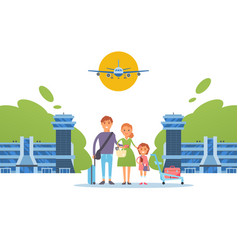 Happy family together at airport travel people vector