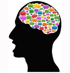Head with speech bubbles vector