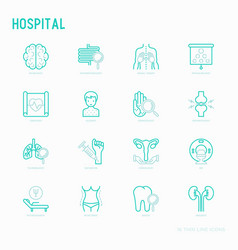 Hospital thin line icons for doctors notation vector
